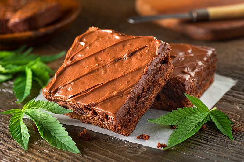 Image of brownie infused with medical cannabis.